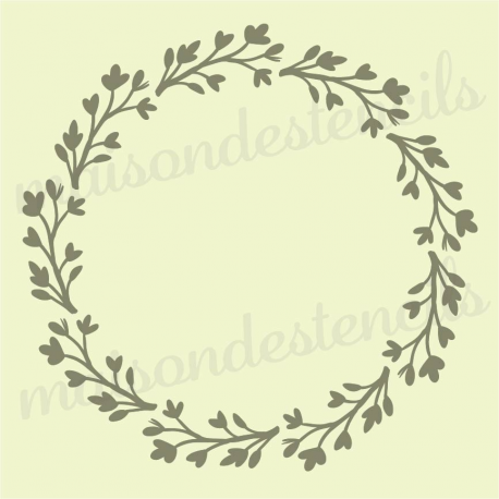 Laurel Wreath with Heart Branches 12x12 stencil