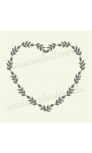 Laurel wreath heart shape with leaves 12x12 stencil