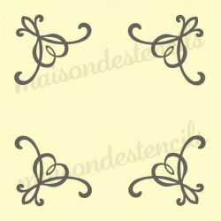 Heart scroll corners 8x8 stencil