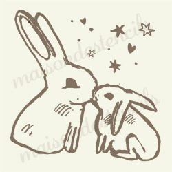 Bunnies Kissing 12x12 stencil