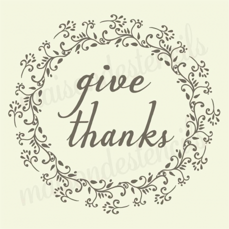 Give Thanks laurel wreath petite fleur 12x12 stencil