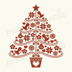 Folk art christmas tree 12x12 stencil