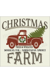 Christmas Farm with red truck 12x12 stencil