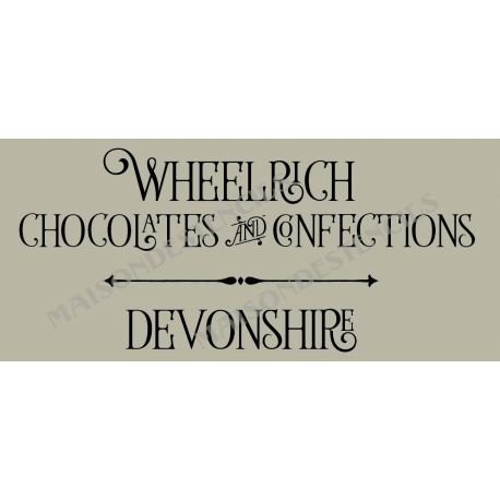 Wheelrich Chocolates and Confections 8x18 Stencil