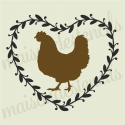 Chicken in Laurel Wreath 12x12 Stencil