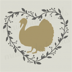 Turkey in Heart Laurel Wreath 12x12 Stencil