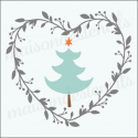 Christmas Tree in Heart Laurel Wreath 12x12 Stencil