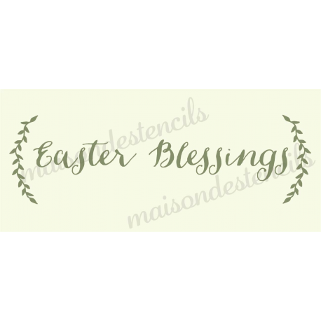 Easter Blessings with Laurels 8x18 Stencil