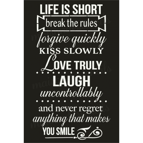 Life is short Break the rules chalkboard 12x18 stencil