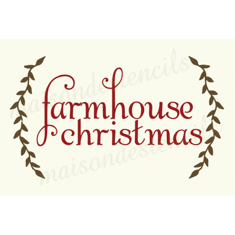 farmhouse Christmas with Laurels 12x18 stencil