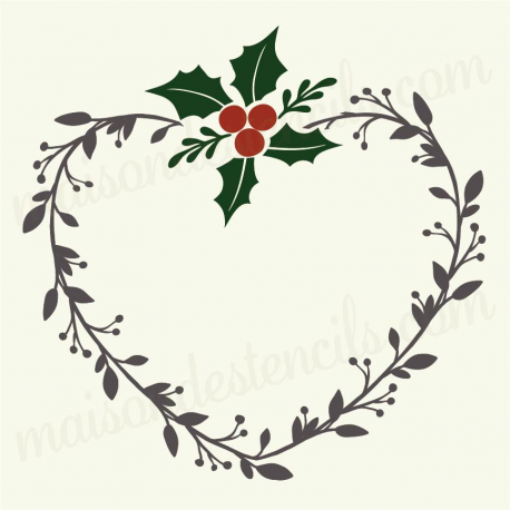 Heart Laurel wreath with holly 12x12 stencil