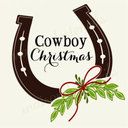 Cowboy Christmas with horseshoe 12x12 stencil