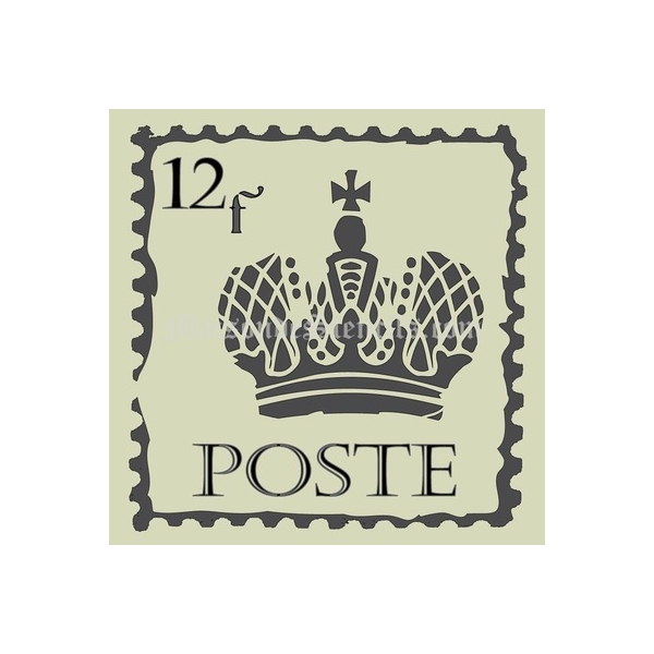 French Postage Stamp With Crown 12x12 Stencil