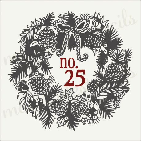 Christmas Wreath no.25 12x12 stencil