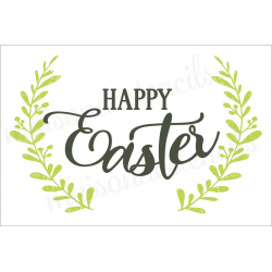 Happy Easter with laurels 2019 12x18 stencil