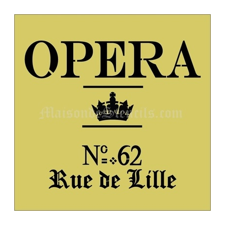 OPERA with Crown and Address 12x12 Stencil