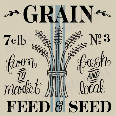 Grain Feed and Seed with stripe 12x12 stencil