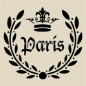 Paris Laurel Wreath with Crown 12x12 Stencil