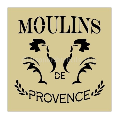 Moulins De Provence 2 French Roosters Feedsack 12x12 Stencil