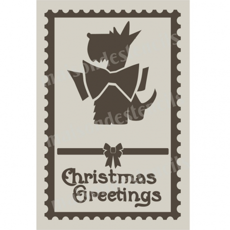 Christmas Greetings Stamp with Scottie 12x18 Stencil