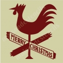 Merry Christmas Rooster Signpost 12x12 Stencil