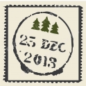 Christmas Tree Stamp with Postmark 12x12 Stencil