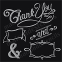 Thank You, &, Banners in chalk style lettering 12x12 stencil