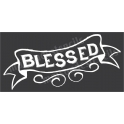 Blessed Chalk Style Hand Lettered Banner Thanksgiving Holiday 5.5x11.5 Stencil