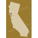 California State Map with Heart 12x18 Stencil