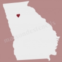 Georgia State Map with Heart 12x12 Stencil