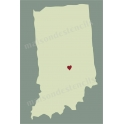 Indiana State Map with Heart 12x18 Stencil