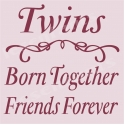 Twins Born Together Friends Forever 12x12 Stencil