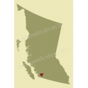British Columbia Province Map with Heart 12x18 Stencil