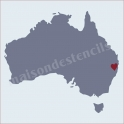 Australia Map with Heart 12x12 Stencil
