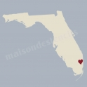 Florida State Map with Heart 12x12 Stencil