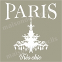 Paris with Chandelier Tres Chic 12x12 Stencil