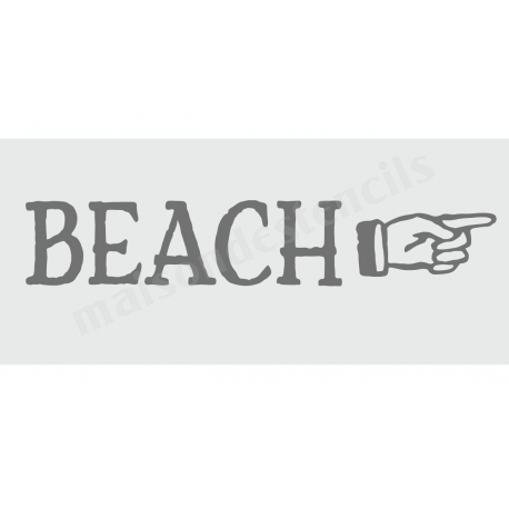 Beach with Pointing Hand 8x18 Stencil