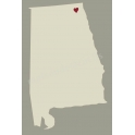 Alabama State Map with Heart 12x18 Stencil