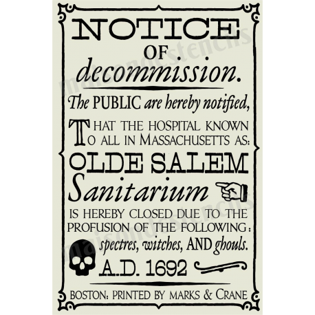 Old Salem Sanitarium Witch Broadside 12x18 Stencil