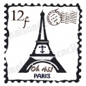 French Postage Stamp Eiffel Tower 12x12 Stencil