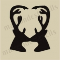 Stag Heads heart silhouette small 5 x 5 stencil