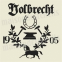 Volbrecht German Feedsack with Horse 12x12 Stencil