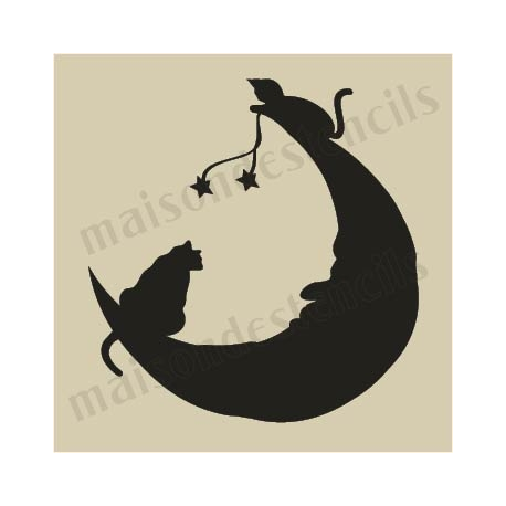 Cats on the moon Halloween small 5 x 5 stencil