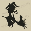 Witch and Cat on Broom Halloween small 5 x 5 stencil