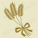 Wheat with Bow 8x8 stencil