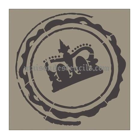 Luggage Stamp with Crown 12x12 Stencil