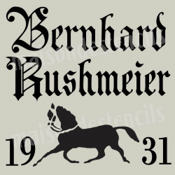 Bernhard Rushmeier German Feedsack with Horse 12x12 Stencil