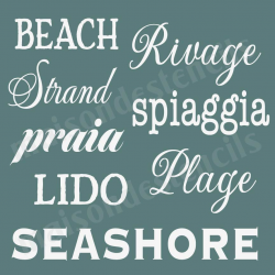Beach Many Languages 12x12 Stencil