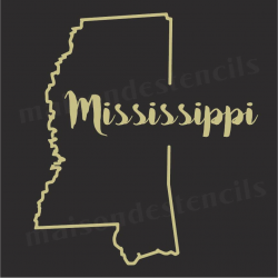 Mississippi state outline 12x12 Stencil