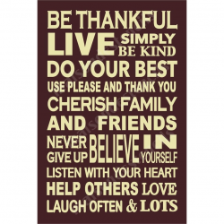 Be Thankful Family Subway 12x18 Stencil